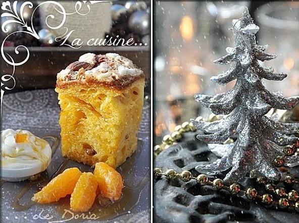 Panettone, glace et sirop à la clémentine/oranges confites